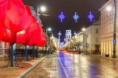 Christmas Gediminas prospect, Vilnius, Lithuania. Decorated and illuminated Christmas Gediminas prospect and Cathedral Belfry at night, Vilnius, Lithuania Royalty Free Stock Photos