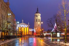Christmas Gediminas prospect, Vilnius, Lithuania. Decorated and illuminated Christmas Gediminas prospect and Cathedral Belfry during evening blue hour, Vilnius Stock Photography