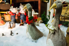 Christmas geese in display Stock Photos