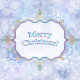 Christmas gentle greeting card. With snowflakes and translucent white label, vector eps10 vector illustration