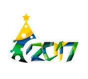 Christmas geometric banner, 2017 New Year. Vector illustration Stock Photo