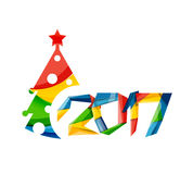 Christmas geometric banner, 2017 New Year. Vector illustration Stock Photo