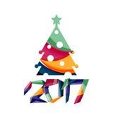 Christmas geometric banner, 2017 New Year. Vector illustration stock illustration