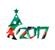 Christmas geometric banner, 2017 New Year. Vector illustration royalty free illustration