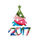 Christmas geometric banner, 2017 New Year. Vector illustration Stock Photos