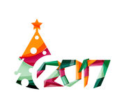 Christmas geometric banner, 2017 New Year. Vector illustration Royalty Free Stock Image