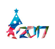 Christmas geometric banner, 2017 New Year. Vector illustration Royalty Free Stock Photography