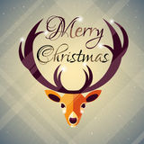 Christmas geometrical deer. Christmas card with geometrical deer illustration. Winter holiday card Stock Photos