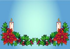 Christmas gerland with candles. Christmas decor with poinsettia and holly on a blue gradient background. Christmas and New Year de royalty free illustration