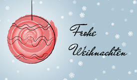 Christmas german greetings card with watercolor brush Stock Photo