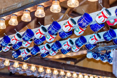 Christmas German Market - mulled wine cups in Market Stall Royalty Free Stock Photography