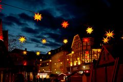 Christmas in Germany. Town Hall Square with Christmas Fair stock photos