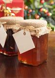 Christmas gift. Jelly and jam for holiday give complete with blank name tags stock photography