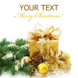 Christmas Gift. Beautiful Christmas Gifts border isolated on a white background stock images