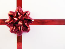 Christmas gift. Christmas ribbon and star on on white box stock image