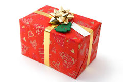 Christmas gift. In red paper Royalty Free Stock Photos