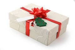 Christmas gift. In white box Royalty Free Stock Photography