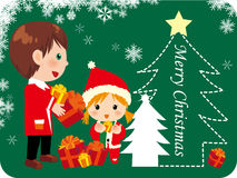 Christmas gift. Illustration of kids gift and christmas tree Royalty Free Stock Image