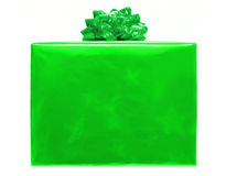 Christmas gift. Large, single green Christmas gift box with bow on a white background Royalty Free Stock Photo