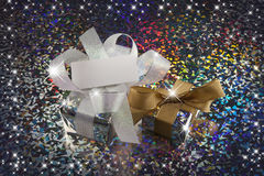 Christmas gift. And stars with colorful background Royalty Free Stock Photo