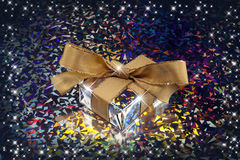 Christmas gift. And stars with colorful background Stock Image