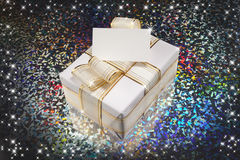 Christmas gift. And stars with colorful background Stock Photography