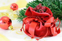 Christmas gift. Red Christmas gift box ,Cristmas balls and Cristmas tree branch stock image