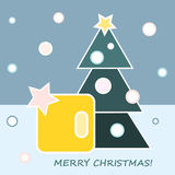 Christmas Gift. And Christmas tree on blue background Stock Illustration