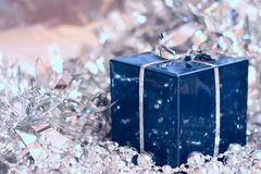 Christmas gift. Box with shiny silver decoration Royalty Free Stock Photography