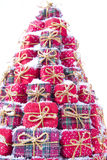 Christmas gift. Series of small gift boxes to form a Christmas tree royalty free stock photography
