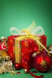 Christmas Gift. Box, balls and decorations Royalty Free Stock Photo