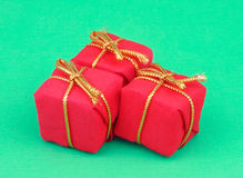 Christmas gift. Box on green background Stock Photo