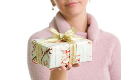 Christmas gift. Isolated over white Stock Photos