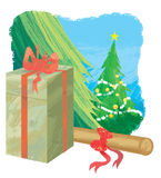 Christmas gift. A box of Christmas gift laid before Christmas trees Royalty Free Stock Images