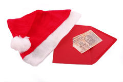 Christmas gift. Red envelope with a Christmas gift - Indian currency Stock Photography