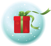 Christmas Gift. Illustration of Red Christmas Gift with green Ribbon Stock Photos