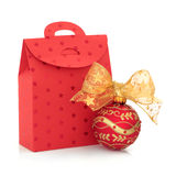 Christmas Gift Bag and Bauble Royalty Free Stock Photography