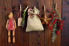 Christmas Gift Bag and Decorations Royalty Free Stock Photo
