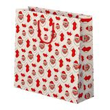 Christmas gift bag. Gift with image of pig face. 3D rendering vector illustration
