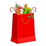 Christmas gift bag. Vector illustration. Royalty Free Stock Images