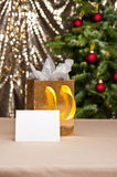 Christmas gift bag with white card Stock Image