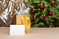 Christmas gift bag with white card Stock Images