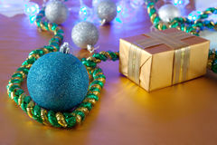 Christmas gift and ball Royalty Free Stock Photo
