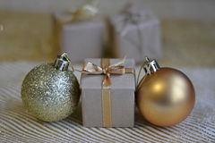 Christmas gift. With balloons in Golden color royalty free stock photography