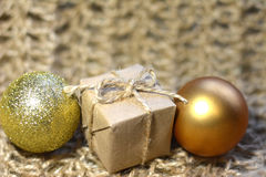 Christmas gift. With balloons in Golden color royalty free stock photo