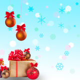Christmas gift and balls with snow 1 Royalty Free Stock Image