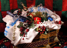 Christmas Gift Basket Stock Photography