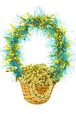 Christmas gift basket with gold beads isolated Stock Photo
