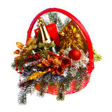 Christmas gift basket on white background Stock Photos