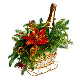 Christmas gift basket on white background Royalty Free Stock Photography